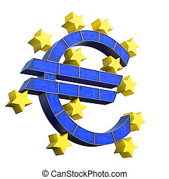European Central Bank Symbol isolated on white background....