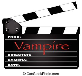 Vampire Clapperboard - A typical movie clapperboard with the...