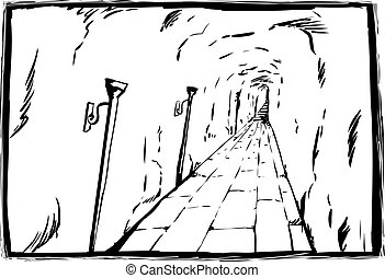 Unlit torches in unlit dungeon sketch scene - Long unlit...