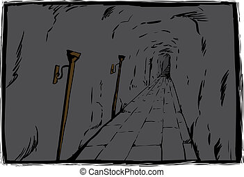 Unlit torches in unlit dungeon - Long unlit dungeon passage...