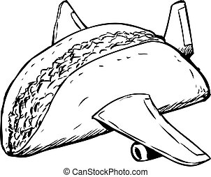 Beef Taco with Wings Cartoon - Single beef taco as fast food...