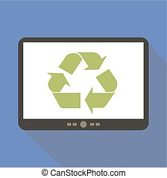 Recycle Tablet Icon Vector Illustration