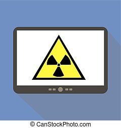 Radiation Alert Tablet Icon Vector Illustration.