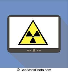 Radiation Alert Tablet Icon Vector Illustration