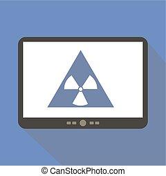 Radiation Alert Tablet Icon Vector Illustration.