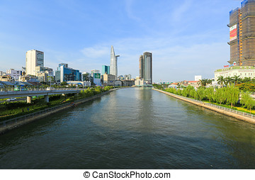 Ho Chi Minh City, Vietnam - March 08 2015 : view of Tau Hu...