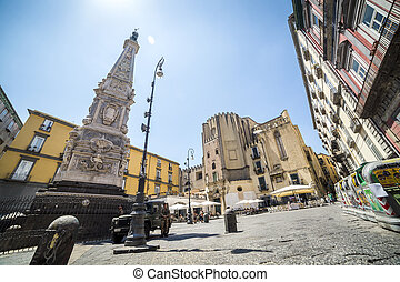 Neapolitan square with local people - Naples, Italy - June...