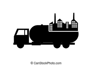 cistern truck and factory icon