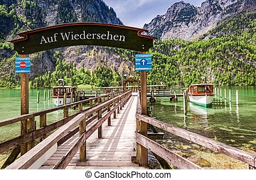 Entrance to the harbor for boats on the lake Konigssee,...