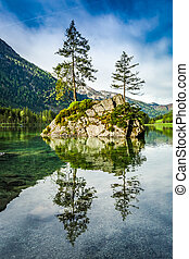 Summer sunrise at Hintersee lake in Alps, Germany