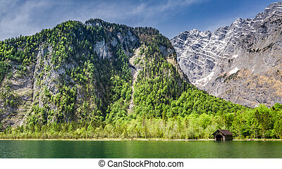 Beautiful lake Konigssee in the German Alps