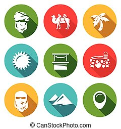 Vector Set of Middle East Icons - Bedouin, Bactrian, Oasis,...