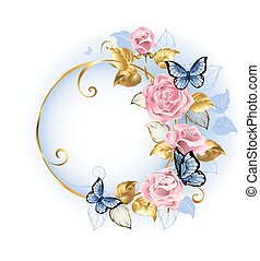 Round banner with pink roses - Round gilded banner with...