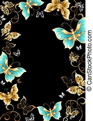 Frame with gold butterflies - Frame with gold, jewels and...