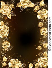 Frame with gold roses - Frame with sparkling jewelry, gold...