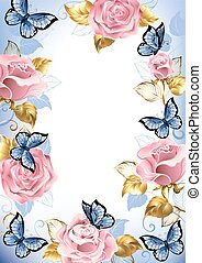 Frame with pink roses, blue butterflies, gold and blue...