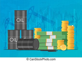 Oil cask, gold coins and piles of money. Business finance markets concept vector illustration