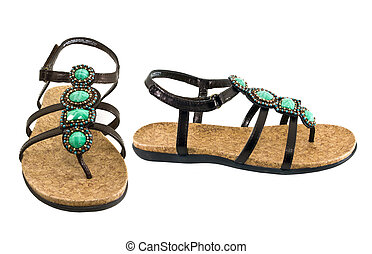 Sandals with gems - sandals isolated on white