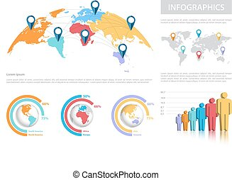 World map with infographics