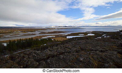 Time lapse of lake Pingvallavatn in Iceland with dramatic...