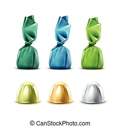 Set of Chocolate Candies in Colored Foil Wrapper - Vector...