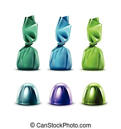 Set of Chocolate Candies in Purple Green Blue Foil - Vector...
