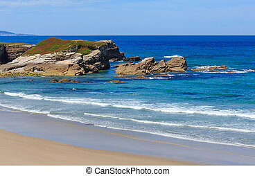 Atlantic sandy Islas beach (Spain). - Atlantic sandy Islas...