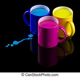 CMYK mugs - Three colored mugs with a cyan, magenta and...