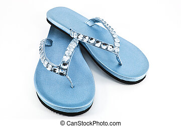 Blue flip flops or sandals