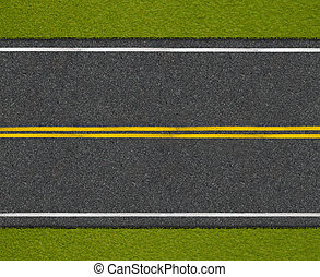 Asphalt highway road with roadside top view - Asphalt...