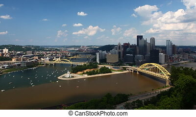 Timelapse Pittsburgh skyline and three rivers