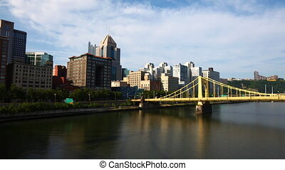 Timelapse Pittsburgh skyline on a sunny day - A Timelapse...