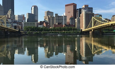 View Pittsburgh skyline between two bridges - A View...