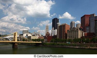 Timelapse Pittsburgh skyline on a fine day - A Timelapse...