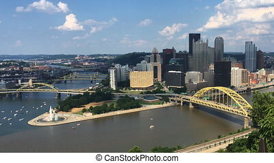 View looking down at Pittsburgh skyline - A View looking...