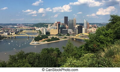 View Pittsburgh skyline between two rivers - A View...