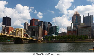 Timelapse Pittsburgh skyline on a beautiful day - A...