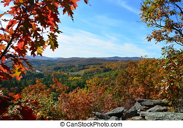 Autumn landscape from mountaintop in Vermont