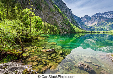 Obersee lake in Alps, Germany