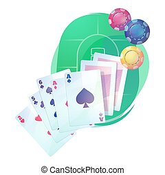 Texas holdem poker game cards and chips over casino or pub...