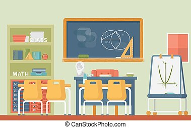Mathematic, geometry school classroom interior. Lesson of...
