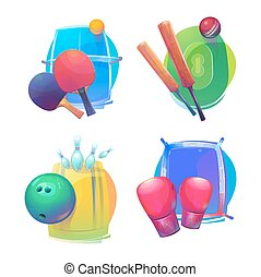 Tennis and cricket, bowling and boxing equipment icons or...