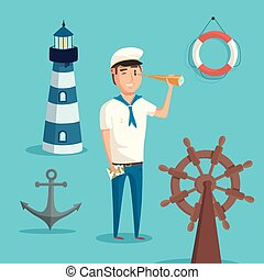 Captain or sailor with spyglass and lighthouse, anchor and...