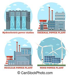 Plant or factory energy stations buildings. Water power...