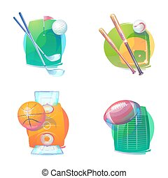 Basketball and baseball, golf, rugby accessories icons or...