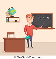 Mathematics teacher with pointer in blackboard with chalk showing arithmetic number calculation. Books and globe on shelf behind table with class journal. Good for educational and lesson theme