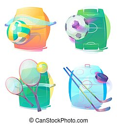 Hockey and tennis, volleyball and soccer gear icons or logo...