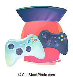 Video games with joystick and TV plasma Joypad or...