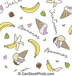 bananas and ice cream cones - cartoon bananas and ice cream...