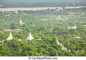 Pagodas in Mandalay, Myanmar - Temple agodas in Mandalay,...